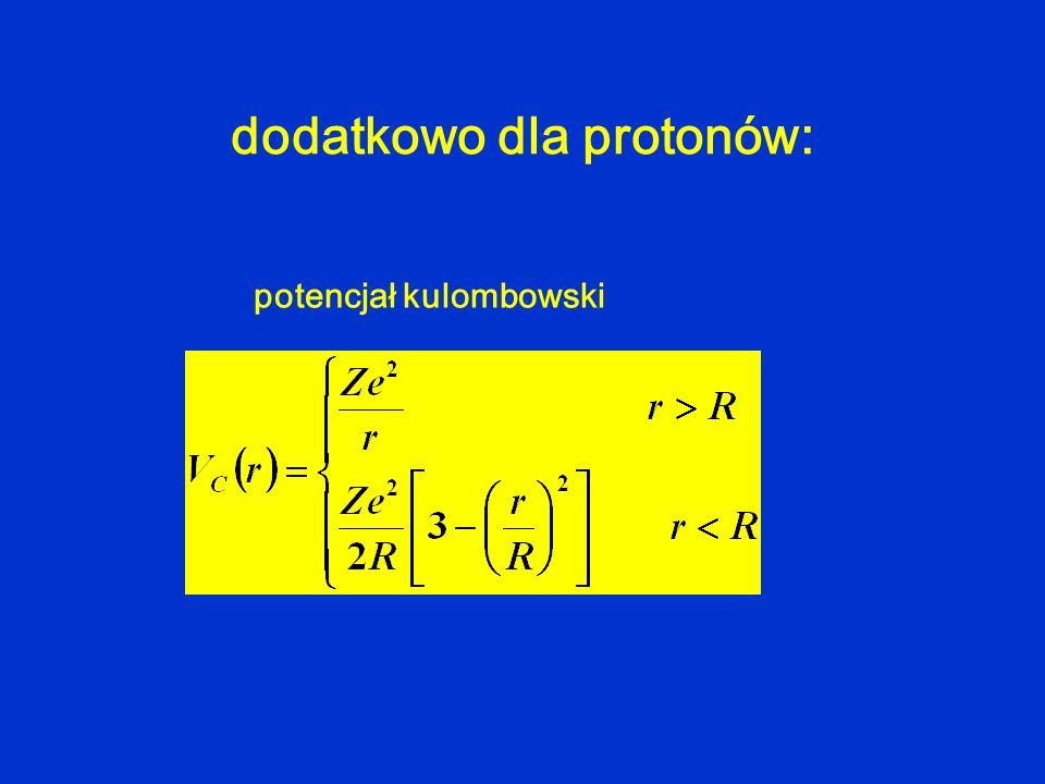 dodatkowo dla protonów: