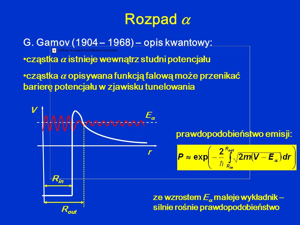 Rozpad  G. Gamov (1904 – 1968) – opis kwantowy: