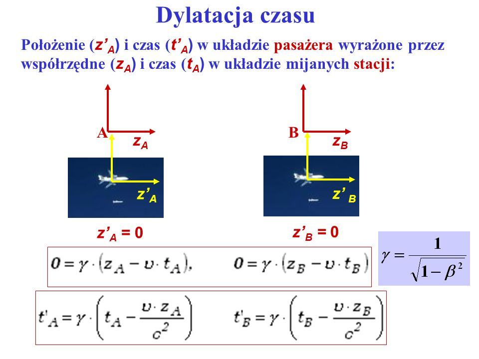 Dylatacja czasu Położenie (z'A) i czas (t'A) w układzie pasażera wyrażone przez współrzędne (zA) i czas (tA) w układzie mijanych stacji: