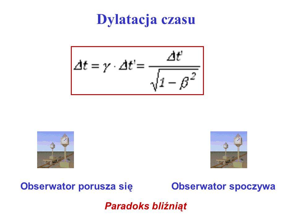 Dylatacja czasu Obserwator porusza się Obserwator spoczywa