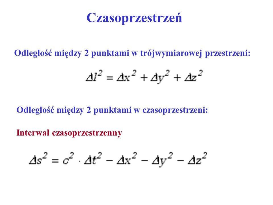 Czasoprzestrzeń Odległość między 2 punktami w trójwymiarowej przestrzeni: Odległość między 2 punktami w czasoprzestrzeni: