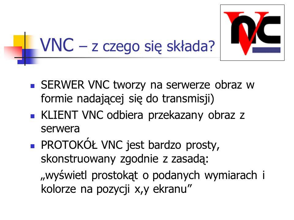 VNC – z czego się składa SERWER VNC tworzy na serwerze obraz w formie nadającej się do transmisji)