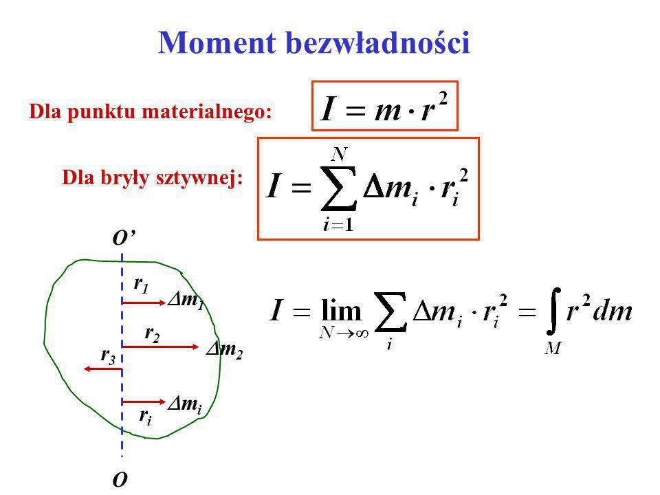 Moment bezwładności Dla punktu materialnego: Dla bryły sztywnej: O' r1