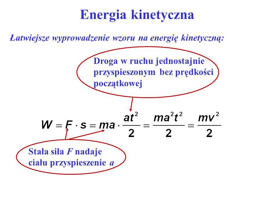 Energia kinetyczna Łatwiejsze wyprowadzenie wzoru na energię kinetyczną: Droga w ruchu jednostajnie przyspieszonym bez prędkości początkowej.