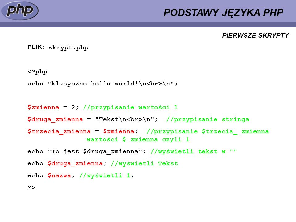 PODSTAWY JĘZYKA PHP PIERWSZE SKRYPTY PLIK: skrypt.php < php