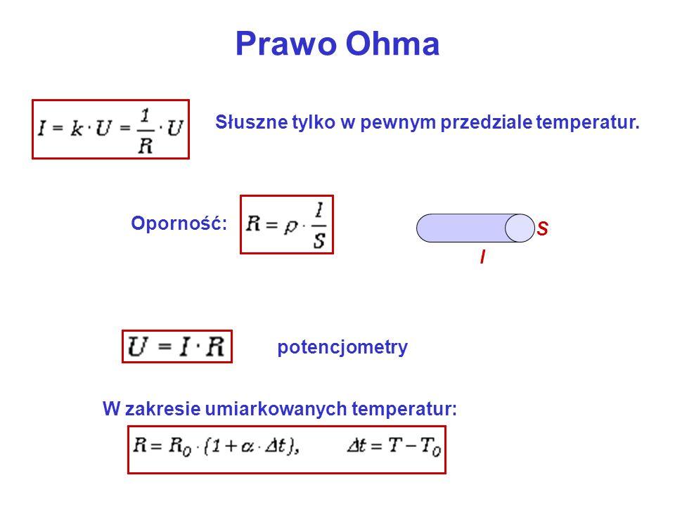 Prawo Ohma Słuszne tylko w pewnym przedziale temperatur. Oporność: S l
