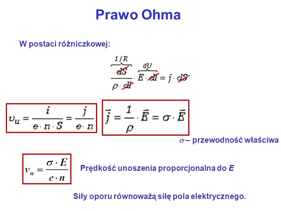 Prawo Ohma W postaci różniczkowej: s – przewodność właściwa
