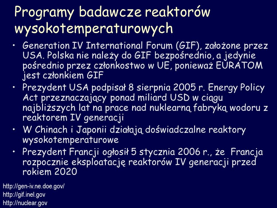 Programy badawcze reaktorów wysokotemperaturowych