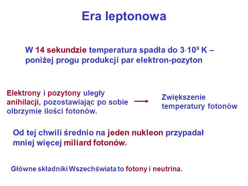 Era leptonowaW 14 sekundzie temperatura spadła do 3109 K – poniżej progu produkcji par elektron-pozyton.