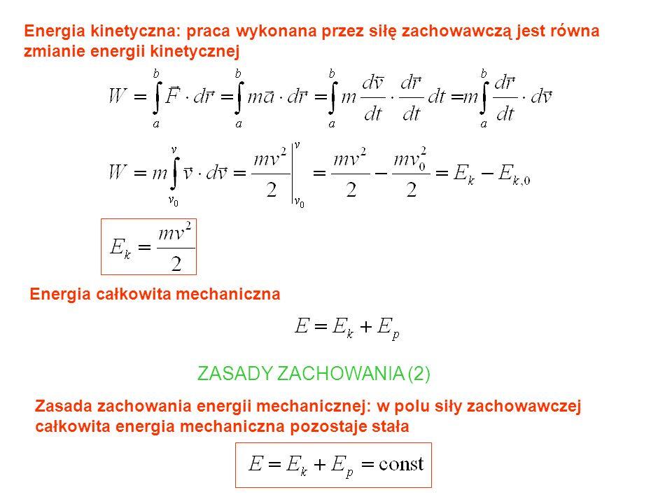 Energia kinetyczna: praca wykonana przez siłę zachowawczą jest równa zmianie energii kinetycznej