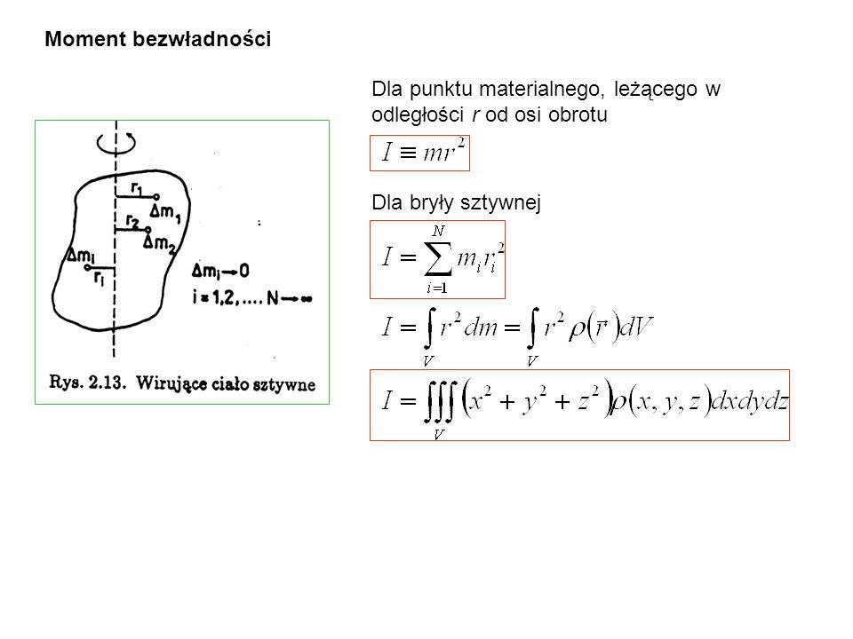 Moment bezwładności Dla punktu materialnego, leżącego w odległości r od osi obrotu.