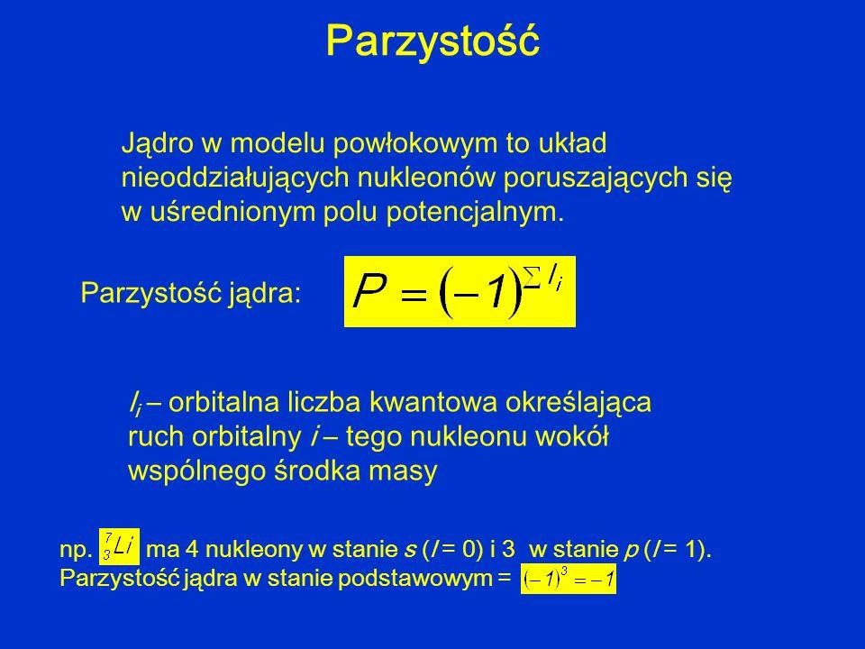 Parzystość Jądro w modelu powłokowym to układ nieoddziałujących nukleonów poruszających się w uśrednionym polu potencjalnym.