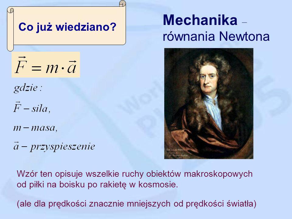 Mechanika – równania Newtona Co już wiedziano