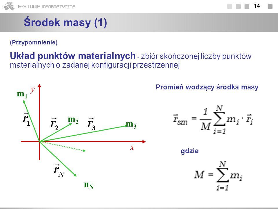 Środek masy (1)(Przypomnienie) Układ punktów materialnych - zbiór skończonej liczby punktów materialnych o zadanej konfiguracji przestrzennej.