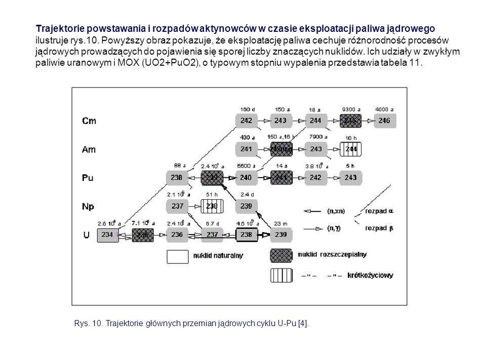 Trajektorie powstawania i rozpadów aktynowców w czasie eksploatacji paliwa jądrowego ilustruje rys.10. Powyższy obraz pokazuje, że eksploatację paliwa cechuje różnorodność procesów jądrowych prowadzących do pojawienia się sporej liczby znaczących nuklidów. Ich udziały w zwykłym paliwie uranowym i MOX (UO2+PuO2), o typowym stopniu wypalenia przedstawia tabela 11.