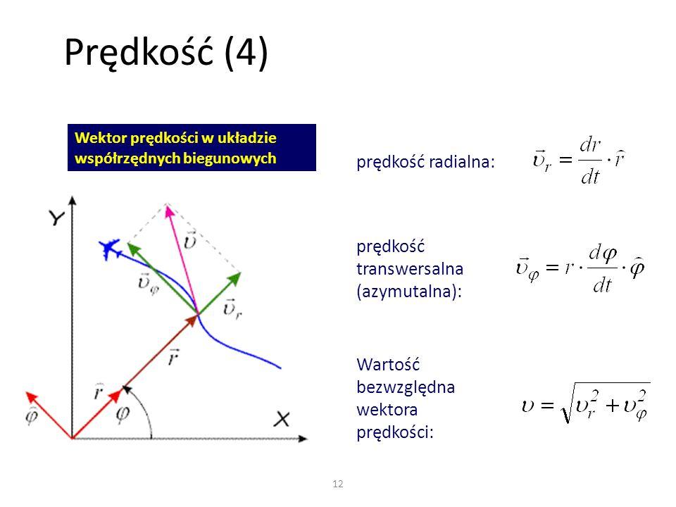 Prędkość (4) prędkość radialna: prędkość transwersalna (azymutalna):