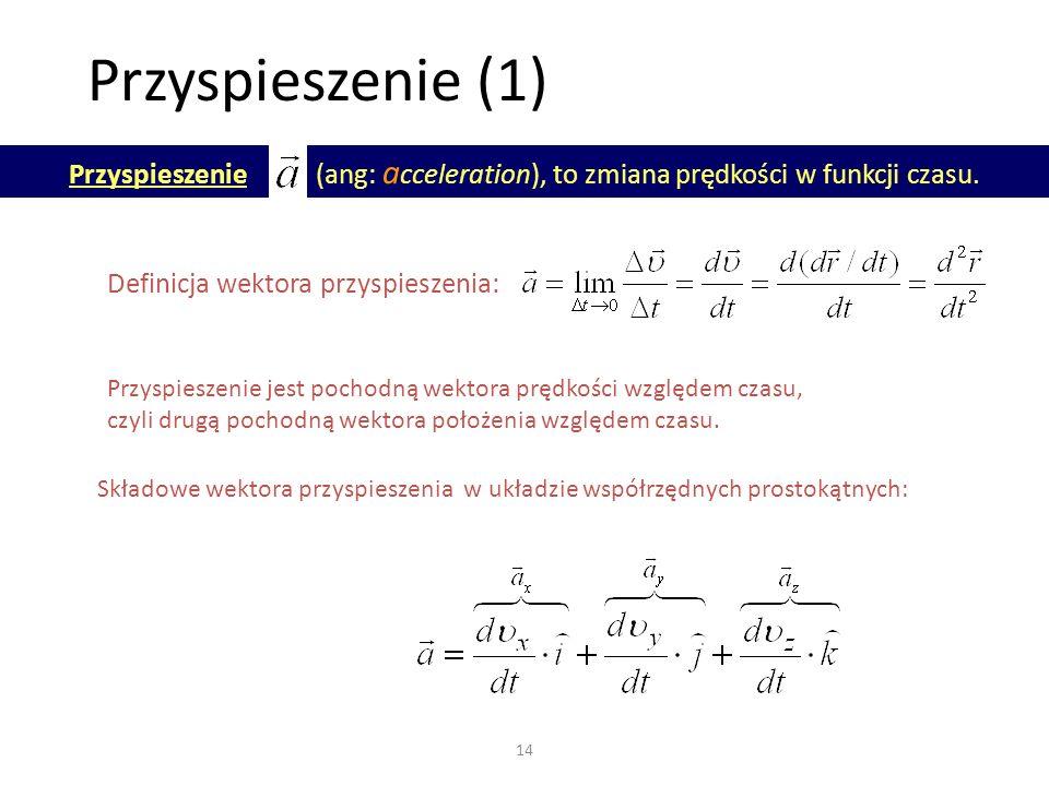 Przyspieszenie (1) Przyspieszenie (ang: acceleration), to zmiana prędkości w funkcji czasu.