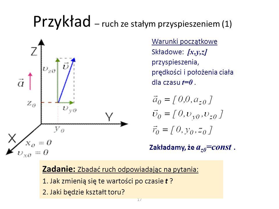 Przykład – ruch ze stałym przyspieszeniem (1)