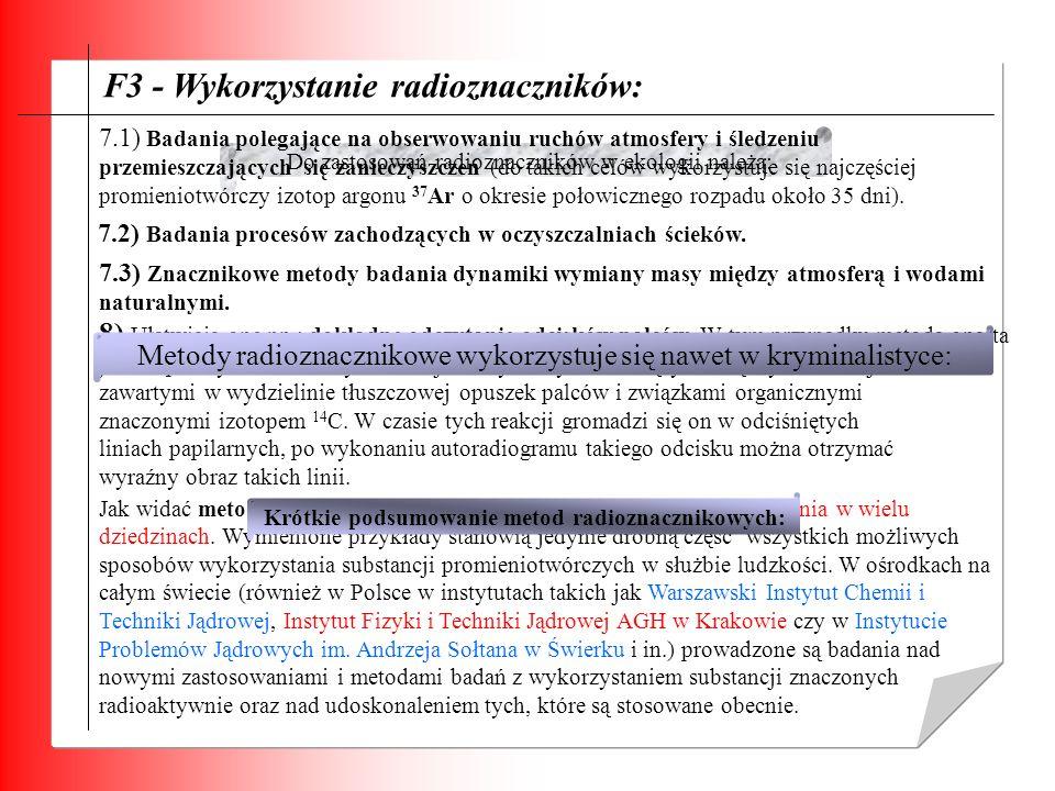 Krótkie podsumowanie metod radioznacznikowych: