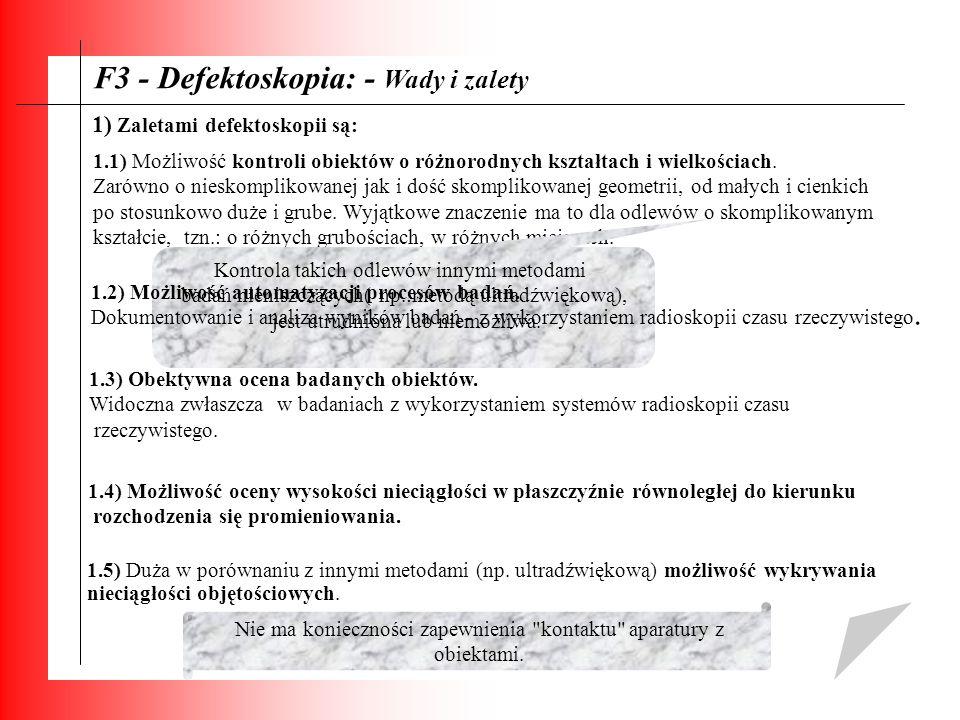 F3 - Defektoskopia: - Wady i zalety