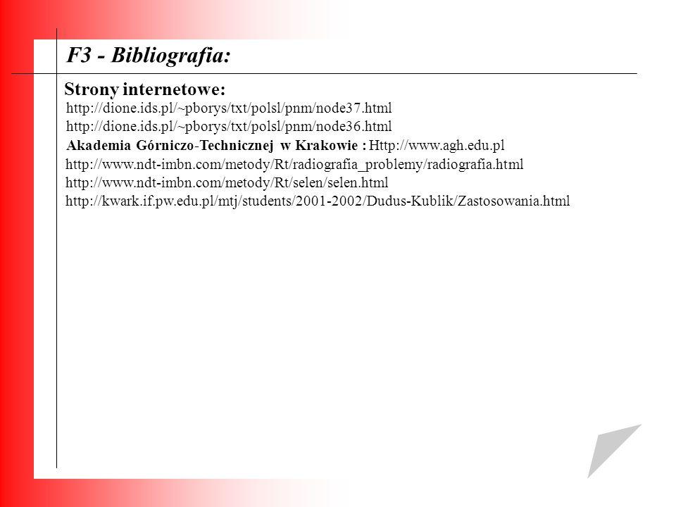 F3 - Bibliografia: Strony internetowe: