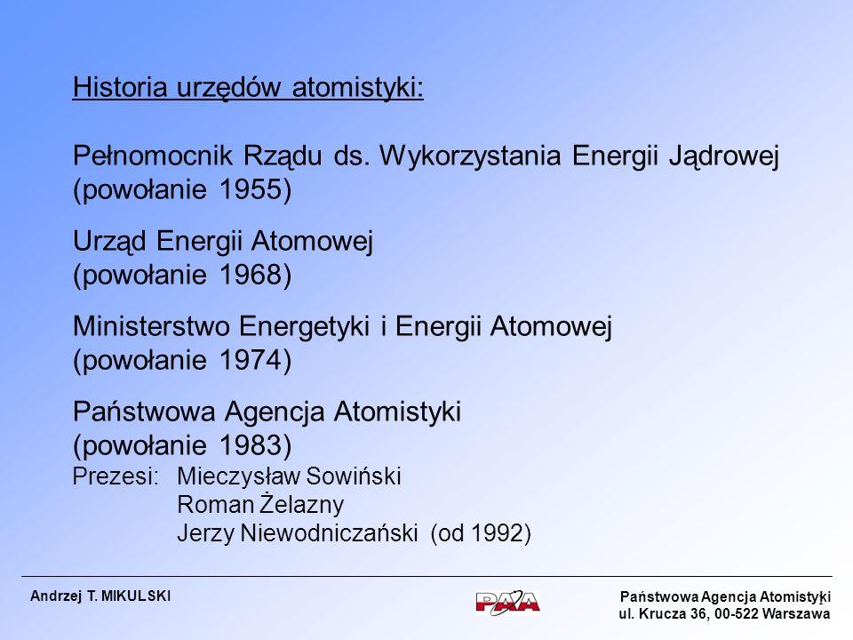 Historia urzędów atomistyki: