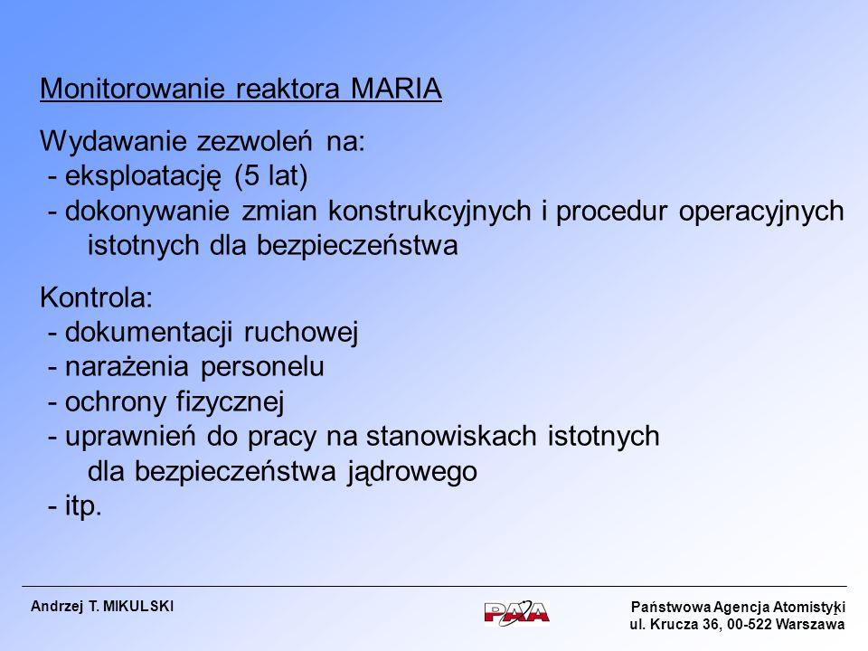 Monitorowanie reaktora MARIA Wydawanie zezwoleń na:
