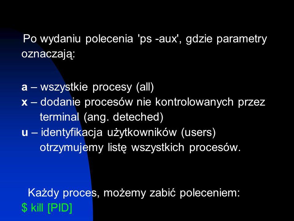 Po wydaniu polecenia ps -aux , gdzie parametry oznaczają: