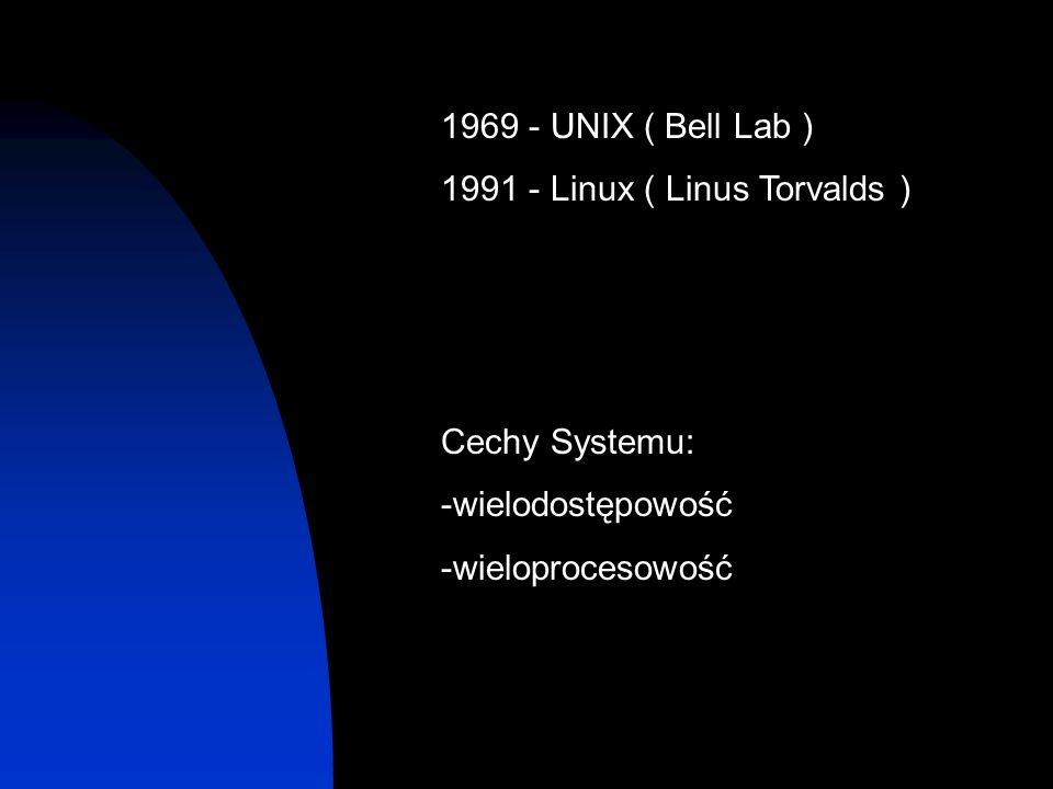 1969 - UNIX ( Bell Lab ) 1991 - Linux ( Linus Torvalds ) Cechy Systemu: -wielodostępowość.