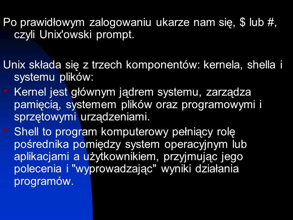 Po prawidłowym zalogowaniu ukarze nam się, $ lub #, czyli Unix owski prompt.
