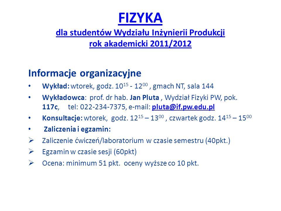 FIZYKA dla studentów Wydziału Inżynierii Produkcji rok akademicki 2011/2012