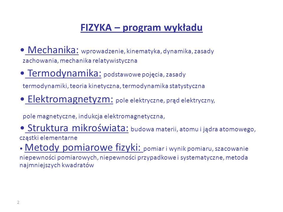 FIZYKA – program wykładu