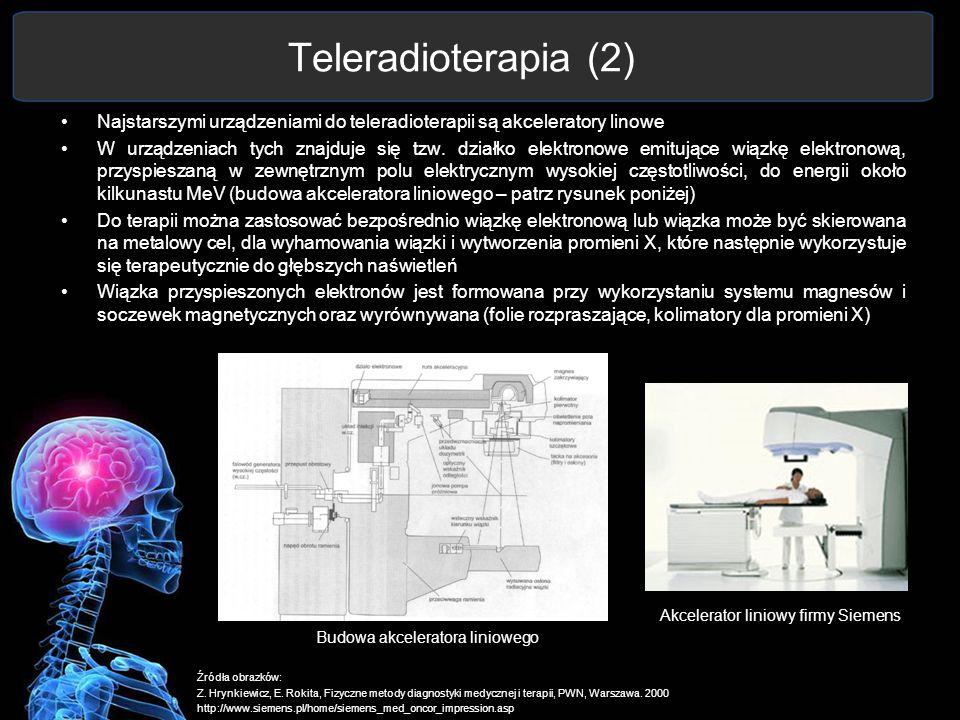 Teleradioterapia (2) Najstarszymi urządzeniami do teleradioterapii są akceleratory linowe.