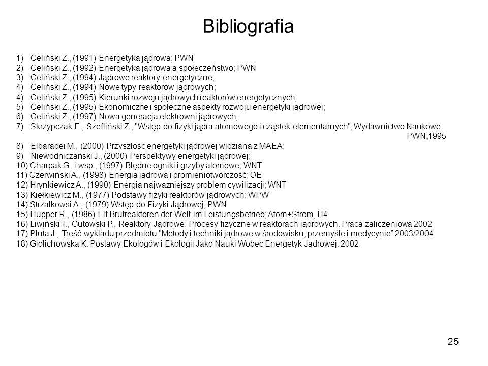 Bibliografia 1) Celiński Z., (1991) Energetyka jądrowa; PWN