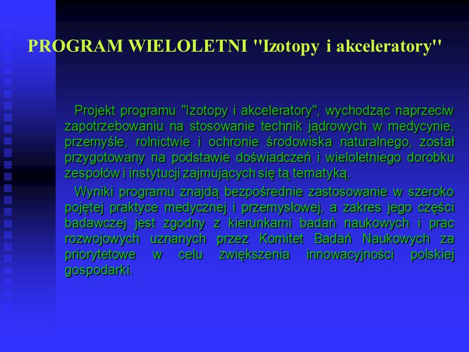 PROGRAM WIELOLETNI Izotopy i akceleratory