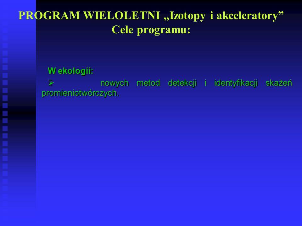 "PROGRAM WIELOLETNI ""Izotopy i akceleratory Cele programu:"