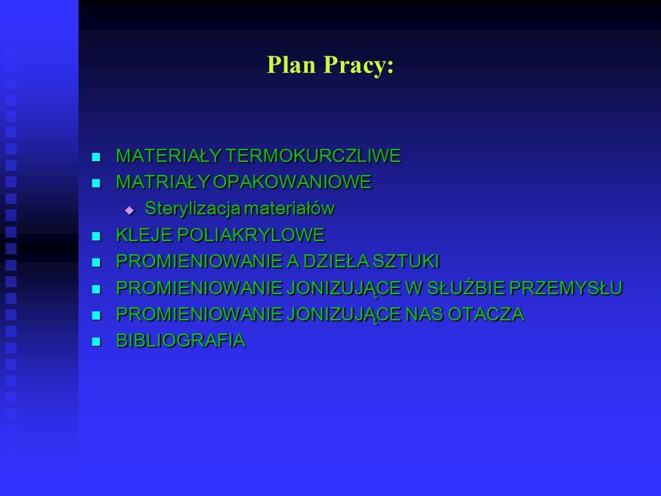 Plan Pracy: MATERIAŁY TERMOKURCZLIWE MATRIAŁY OPAKOWANIOWE