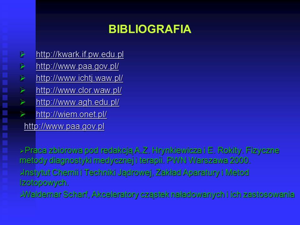 BIBLIOGRAFIA Ø http://kwark.if.pw.edu.pl Ø http://www.paa.gov.pl/