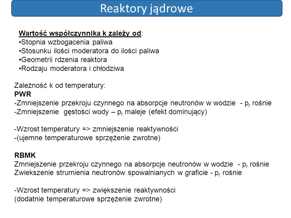 Reaktory jądrowe Wartość współczynnika k zależy od: