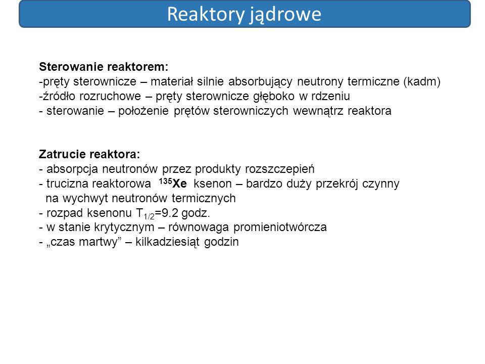 Reaktory jądrowe Sterowanie reaktorem: