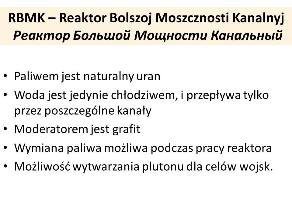 RBMK – Reaktor Bolszoj Moszcznosti Kanalnyj Реактор Большой Мощности Канальный
