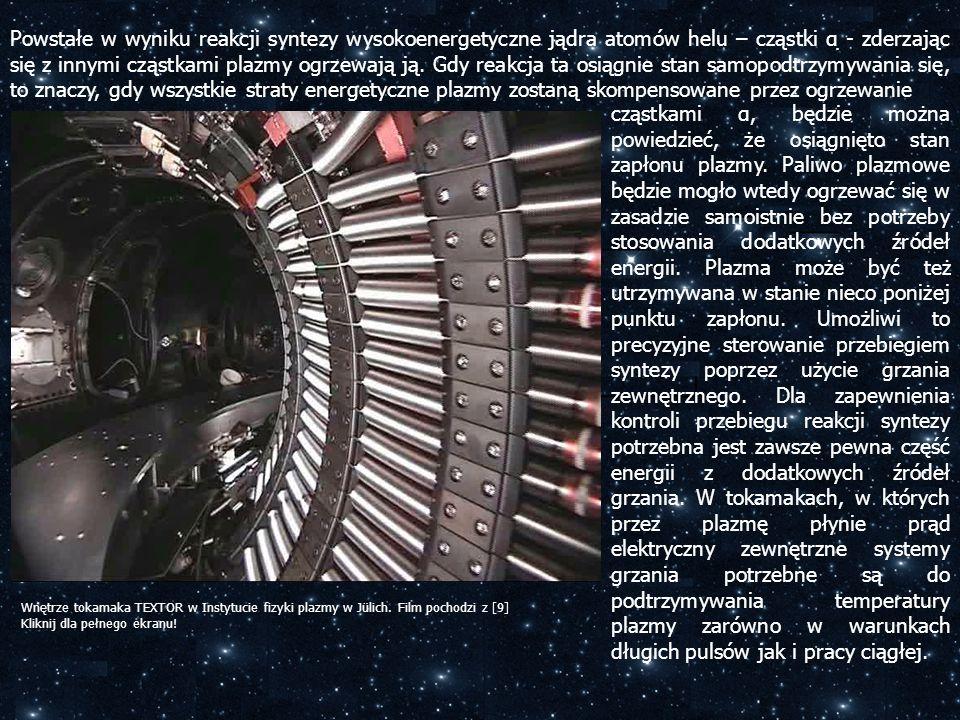 Powstałe w wyniku reakcji syntezy wysokoenergetyczne jądra atomów helu – cząstki α - zderzając się z innymi cząstkami plazmy ogrzewają ją. Gdy reakcja ta osiągnie stan samopodtrzymywania się, to znaczy, gdy wszystkie straty energetyczne plazmy zostaną skompensowane przez ogrzewanie