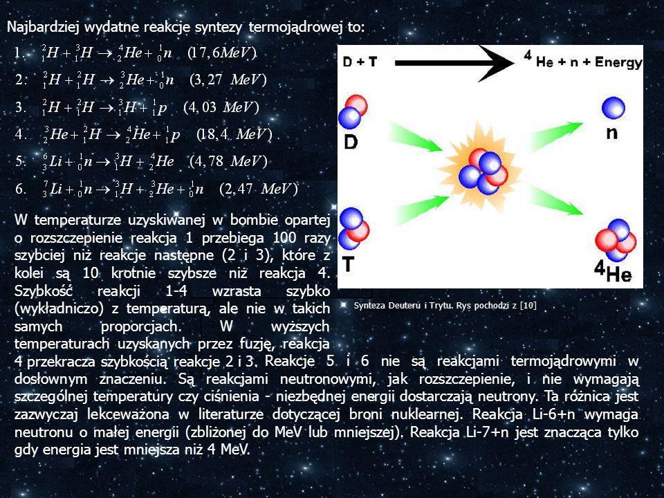 Najbardziej wydatne reakcje syntezy termojądrowej to: