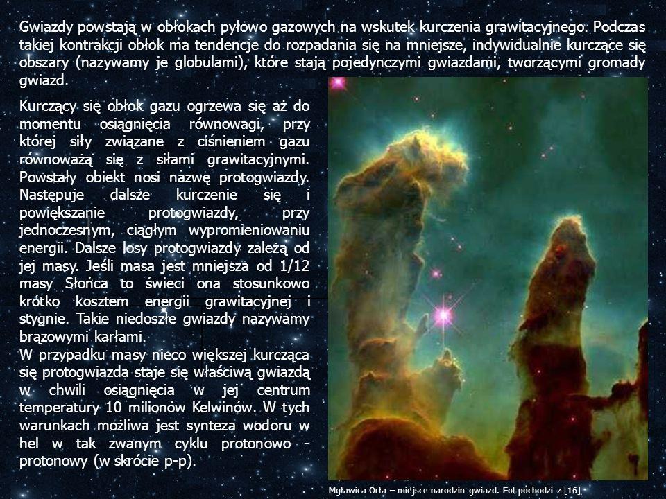 Gwiazdy powstają w obłokach pyłowo gazowych na wskutek kurczenia grawitacyjnego. Podczas takiej kontrakcji obłok ma tendencje do rozpadania się na mniejsze, indywidualnie kurczące się obszary (nazywamy je globulami), które stają pojedynczymi gwiazdami, tworzącymi gromady gwiazd.