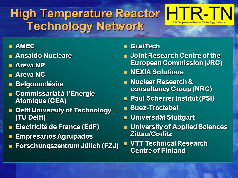 High Temperature Reactor Technology Network