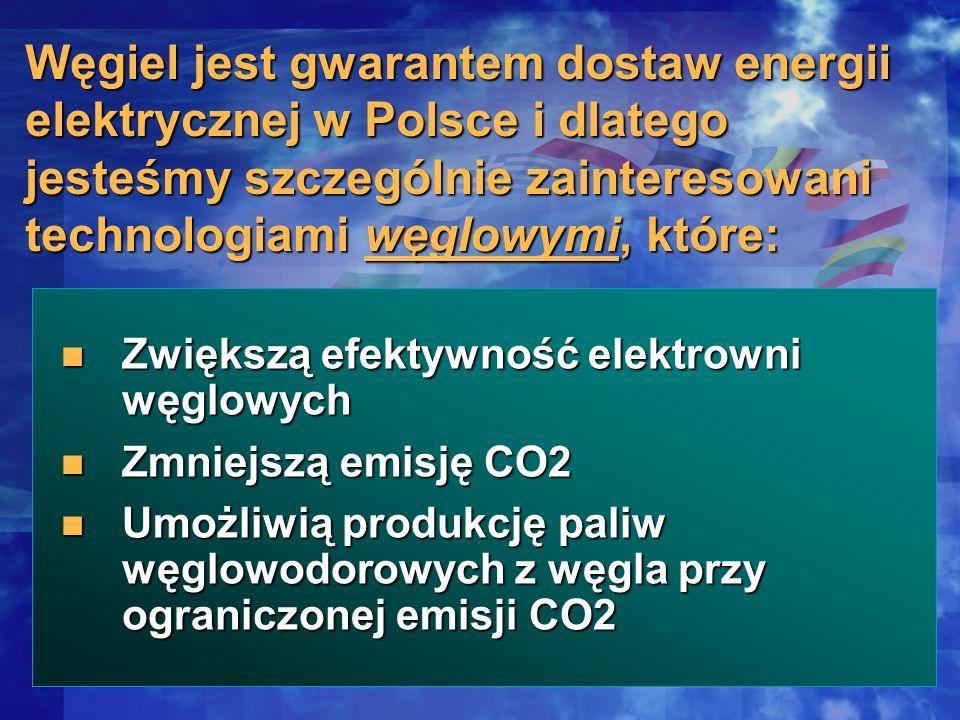 Węgiel jest gwarantem dostaw energii elektrycznej w Polsce i dlatego jesteśmy szczególnie zainteresowani technologiami węglowymi, które: