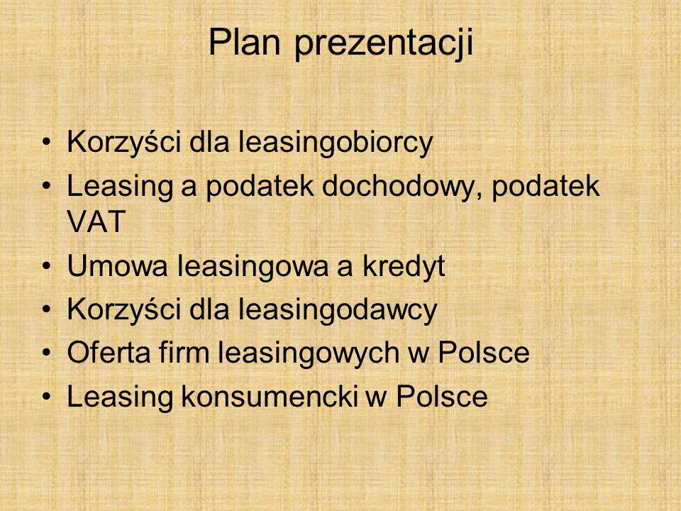 Plan prezentacji Korzyści dla leasingobiorcy
