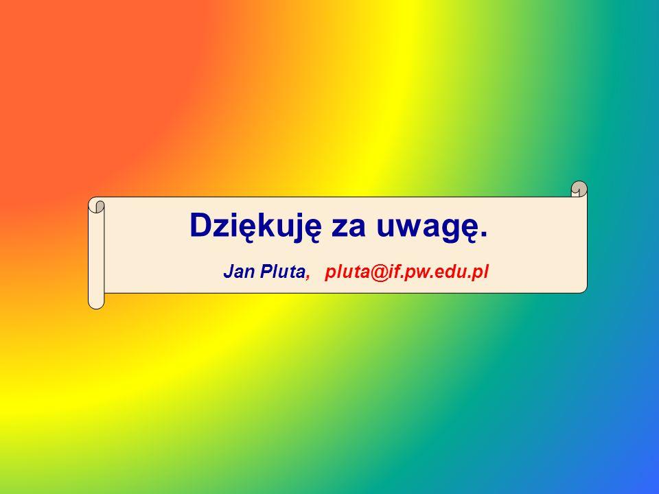 Dziękuję za uwagę. Jan Pluta, pluta@if.pw.edu.pl