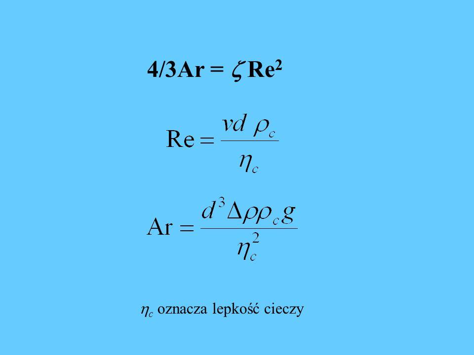 4/3Ar =  Re2 c oznacza lepkość cieczy