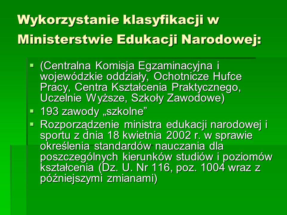 Wykorzystanie klasyfikacji w Ministerstwie Edukacji Narodowej: